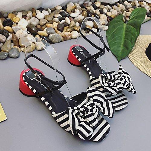 Fashion Femmes Talons Manquant Sandales Orteil Papillon Couleur Boucle unie Talon Noeud SHOESHAOGE qnWTHpw