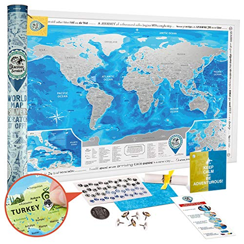 - Discovery Map Scratch Off World Map Poster Silver - Large Detailed Scratch Off Map of The World 35x25 - Award Winning Premium Travel Map Scratch Off with USA/Canada States