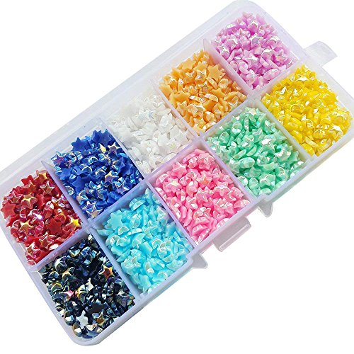 Chenkou Craft 4000pcs 6mm Assorted 10 AB Colors Star Bead 6mm Flat Back Gem Scrapbook Craft DIY Beads + Plastic Box]()