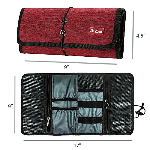 ProCase Accessories Bag Organizer, Electronics Gadgets Travel Gear Organize Case Pouch for Charger USB Cables SD Memory Cards Earphone Flash Hard Drive -Red