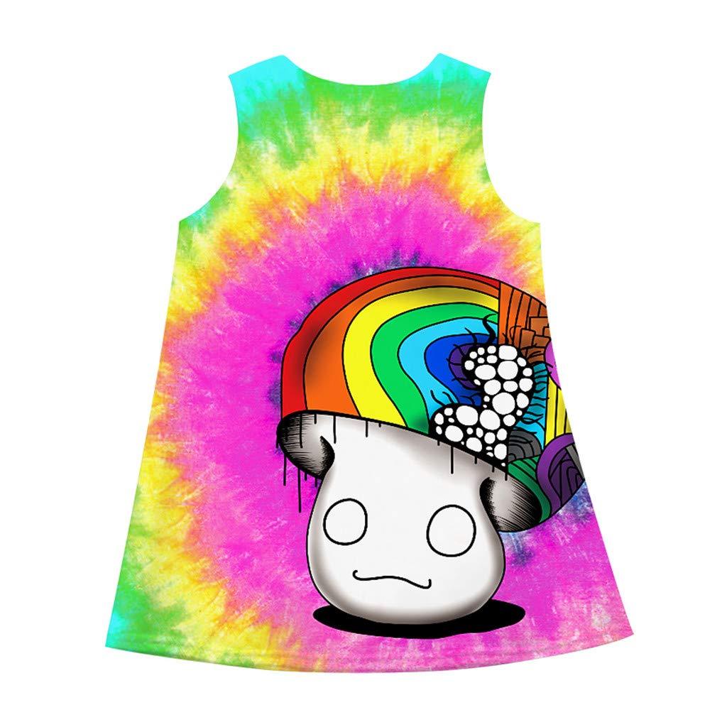 OCEAN-STORE Teen Kid Girls Dresses Sleeveless 3D Cartoon Print Princess Casual Clothes