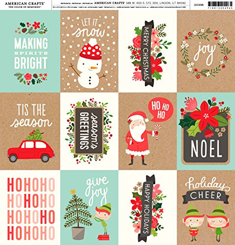 (American Crafts - Pebbles - Merry Merry - Cardstock 12 x 12 Paper Pattern Simple Ho Ho)