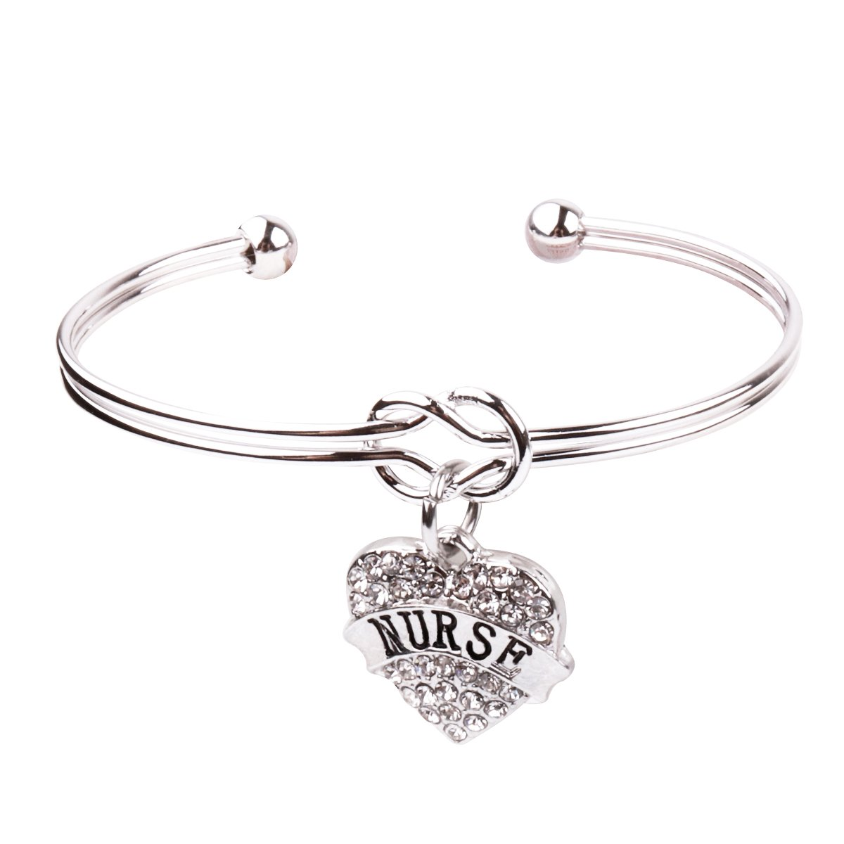 REEBOOO Nurse charm  Nurse Gift  Love Knot Cuff Bangle Bracelet Inspirational  Jewelry Gift for Her (Silver-NURSE)