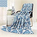 YOYI-HOME Digital Printing Duplex Printed Blanket Painting Effect Paisley Ikat Style Accessories Navy Blue Indigo and White Summer Quilt Comforter /W31.5 x H47