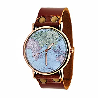 Amazon minilujia women watches world map watch 34mm gold minilujia women watches world map watch 34mm gold plated dial genuine leather strap brown gumiabroncs Choice Image
