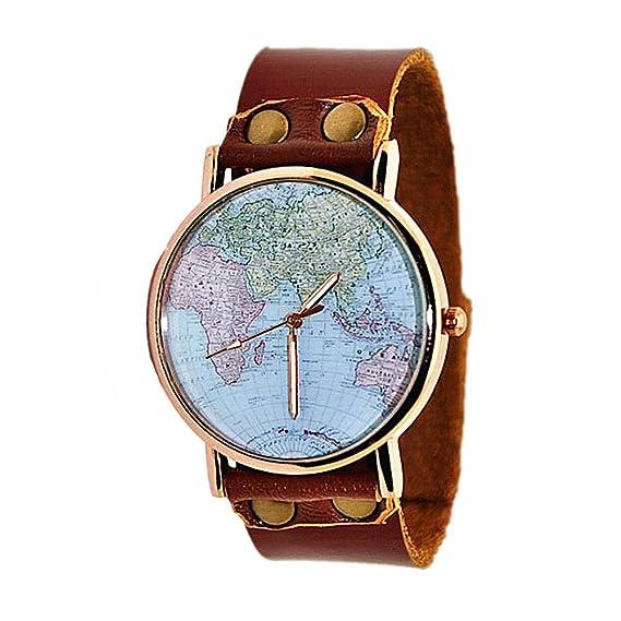 MINILUJIA estilo Vintage mapa del mundo Dial piel watch-travel en todo el mundo de piel Para Muñeca Reloj WT96: Amazon.es: Relojes