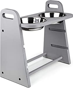Emfogo Dog Bowls Elevated 3 Heights 4in 8in 13in Wood Raised Dog Bowl Stand with Double Bowls Raised Feeder for Dog Cat 16.7x15.5 inch Cement Grey