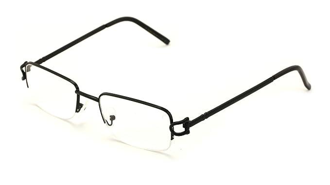 c720d5e4ebd Amazon.com  V.W.E. Rectangular Frame Clear Lens Designer Sunglasses RX  Optical Eye Glasses (Black