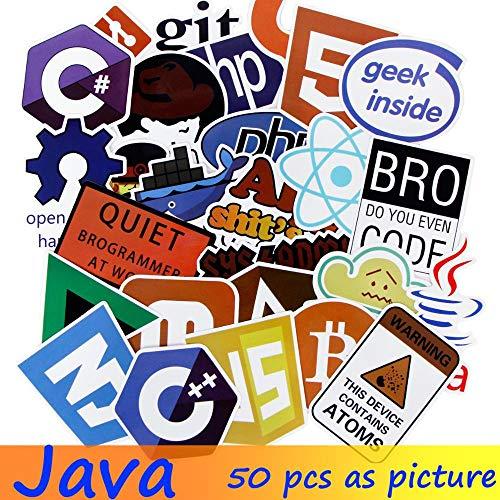 DADATU Stickers 50x Internet Programing Language Apps Logo Java JS PHP HTML Sticker Geek JDM Graffiti DIY Stickers for Laptop Car Luggage Phone