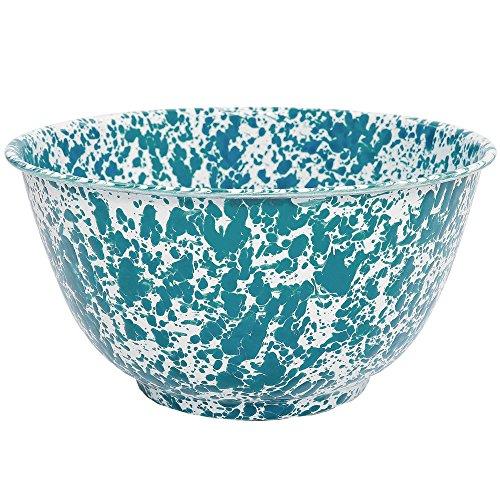 Enamelware Salad Bowl, 4 quart, Turquoise/White Splatter