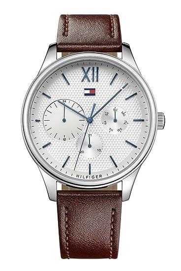 Tommy Hilfiger Reloj Multiesfera para Hombre de Cuarzo con Correa en Cuero 1791418: Amazon.es: Relojes