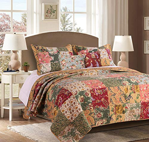Greenland Home Antique Chic Cotton Patchwork Quilt Set, 5-Piece King/Cal King, -