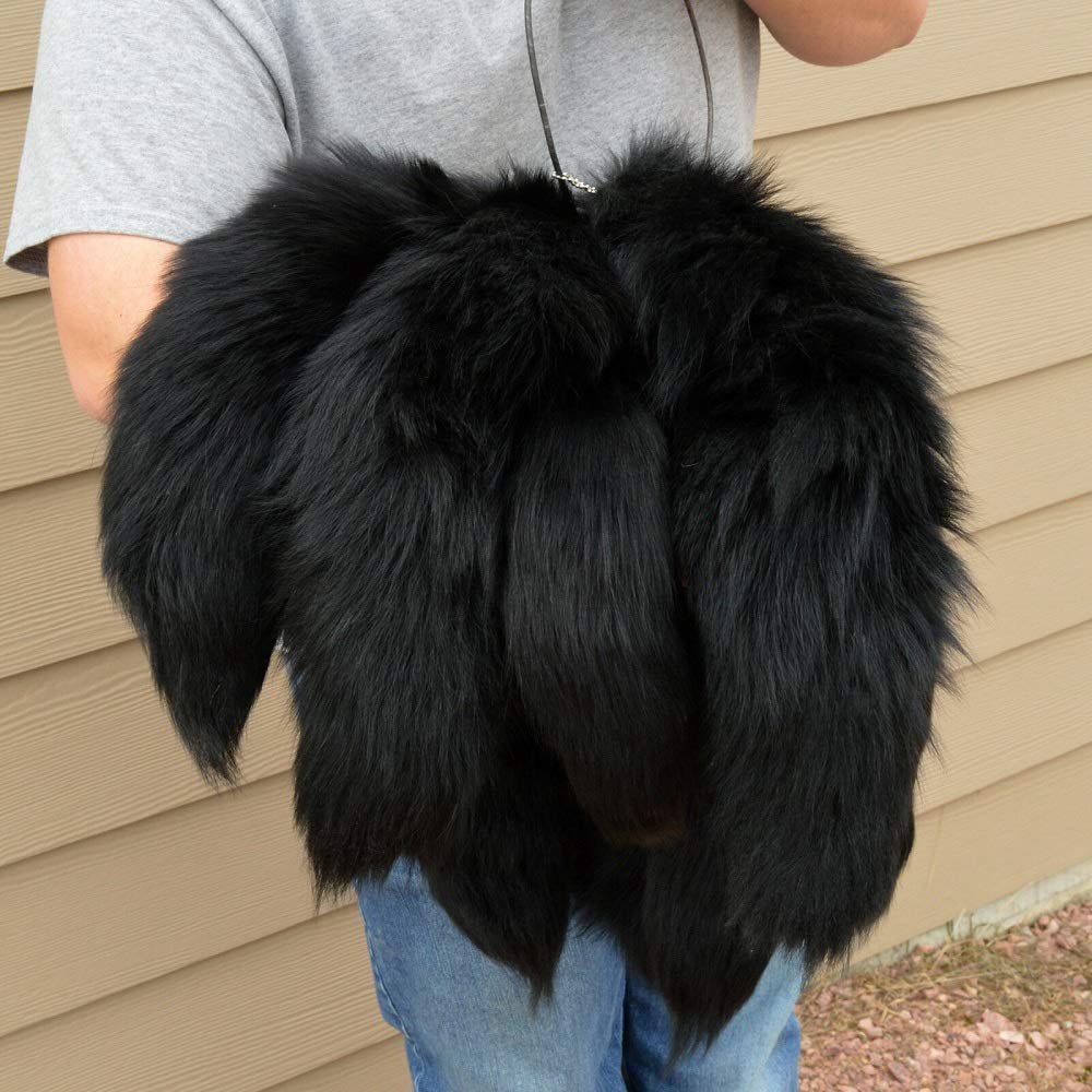 Black Dyed Silver Fox Tail Tanned Poofy w/Grommet 17''+ Taxidermy