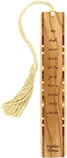product image for Mother Teresa Smile Quote Engraved Wooden Bookmark with Tassel - Search B07195JTJ5 to See Personalized Version