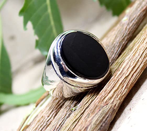 3c0ea7ccd3dc Big Black Onyx Ring, Onyx silver Ring, Signet Men's Jewelry, Gift for Man,  Solid Big Gemstone Ring, Healing Black Onyx, Stone for Energy, Oval Cab Onyx  Ring