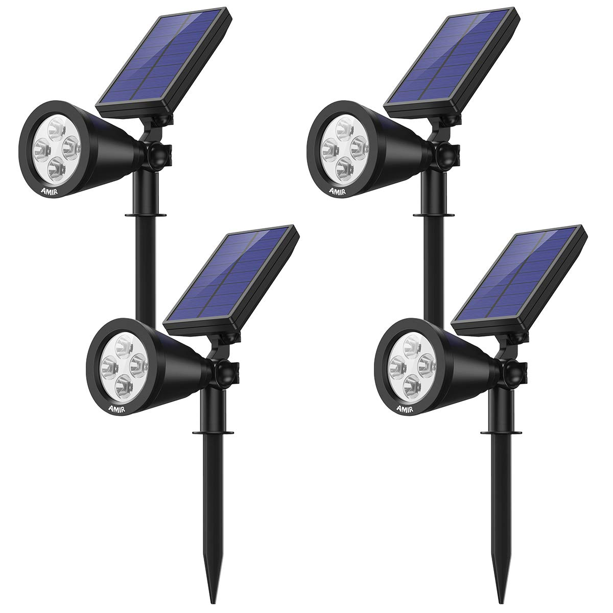 AMIR Solar Spotlights Outdoor Upgraded, Waterproof 4 LED Solar Security Landscape Lights, Adjustable Solar Garden Light with Auto On/Off for Yard Driveway Pathway Pool Patio (4 Pack,White)