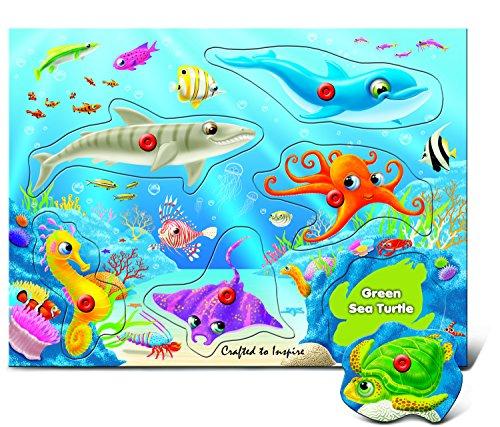- Puzzled Underwater World - Wooden Peg Puzzle (6 Piece)
