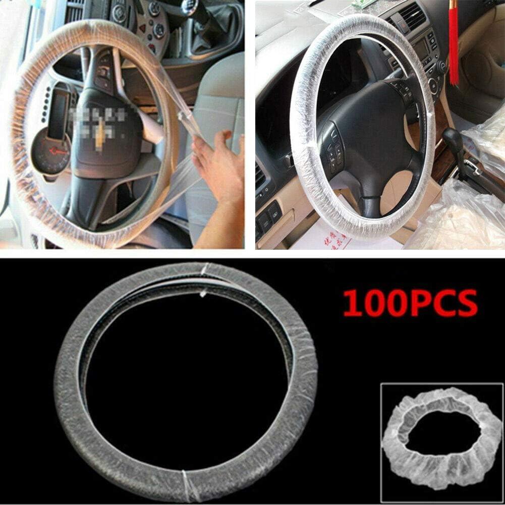 500pcs, White 100//500Pcs Car Disposable Steering Wheel Covers White Universal Plastic Steering Wheel Cover Films