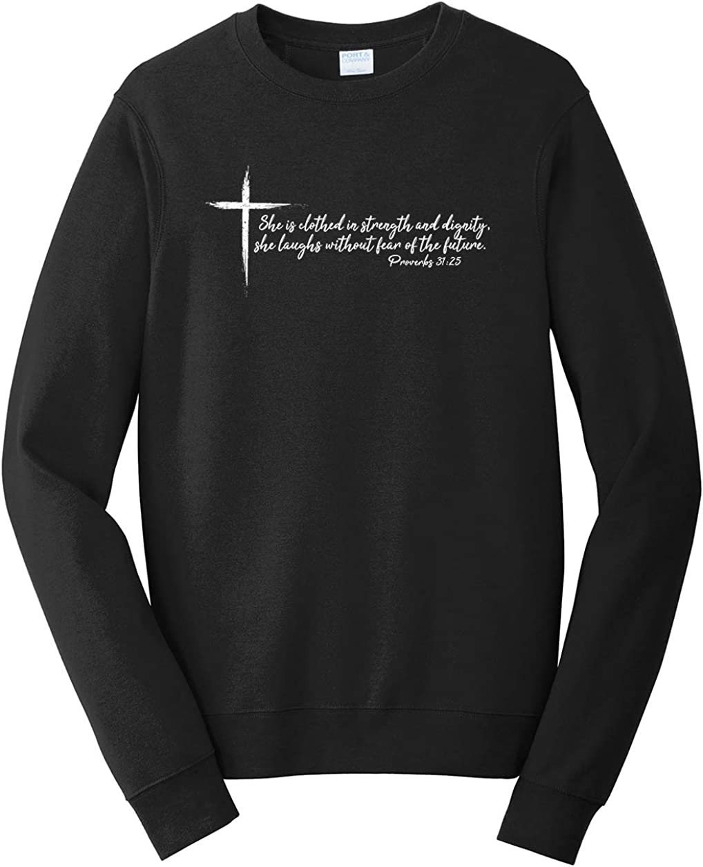 Tenacitee Mens She is Clothed in Strength Sweatshirt