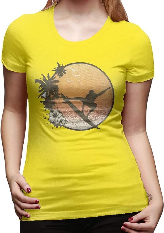 Camiseta básica de algodón de Manga Corta para Mujer, Color Amarillo Hawaiano Negro Amarillo X-Large: Amazon.es: Ropa y accesorios
