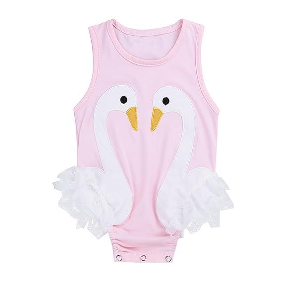 iiniim Infantil Bebé Pelele Mono de Cisne sin Manga Vestido Pijama de Algodón Encaje para Recién Nacido Niños Niñas: Amazon.es: Ropa y accesorios