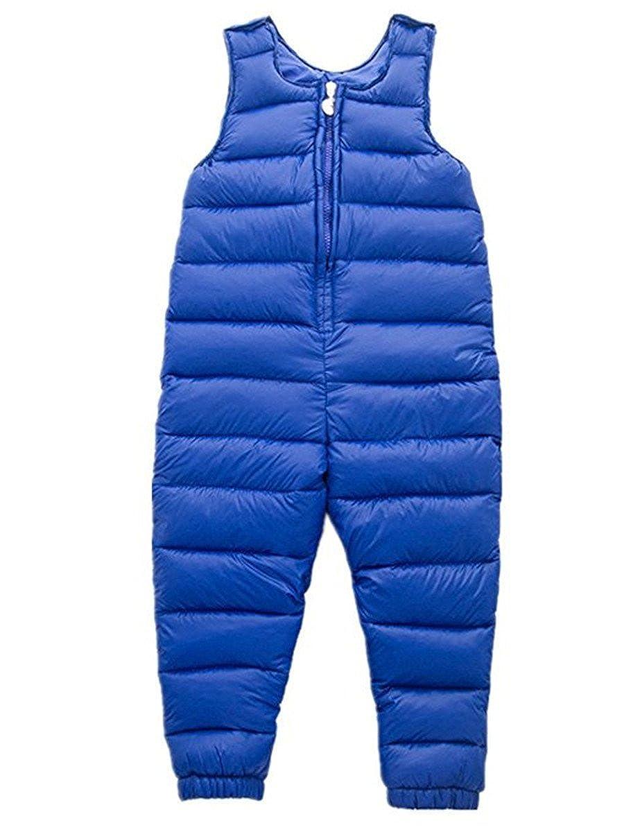 REWANGOING Little Girls Boys One Piece Winter Puffer Sleeveless Jacket Jumpsuit Snowsuit Romper