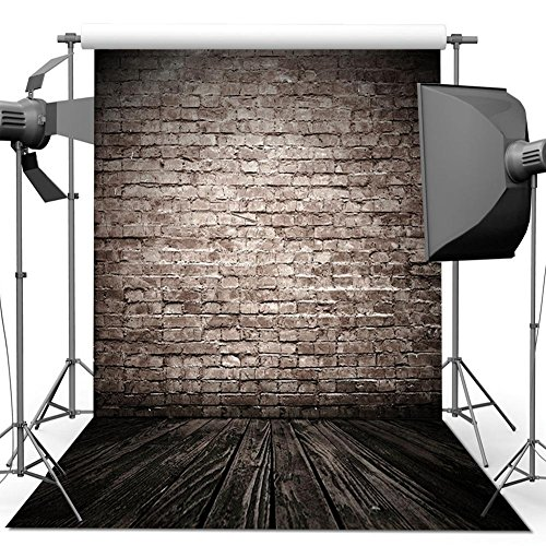 ANVOT Photography Backdrop 5 x 7 FT/1.5 x 2.1 M Retro Brick Wall Wood Floor Backdrop Background For Photography Studio Video Shooting