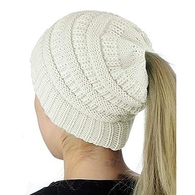 Femme Hiver Bonnet Laine Tricote Queue de Cheval Free (Blanc) Amazon.fr  Vêtements et accessoires