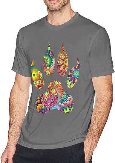 Camiseta de Manga Corta con Cuello Redondo y Estampado de Pata psicodélica para Hombres, Camisa Informal para Hombres: Amazon.es: Ropa y accesorios