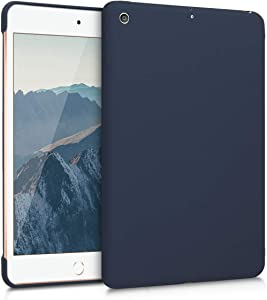 kwmobile Case Compatible with Apple iPad Mini 5 (2019) - Tablet Cover TPU Sleeve with Silicone Coating - Dark Blue Matte