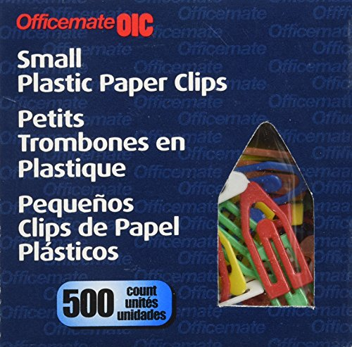 OfficemateOIC Plastic Paper Clips, Small, 1-Inch, Box of 500 (99901)