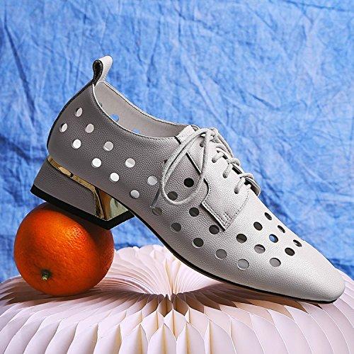 Zapatos Tacones Temporadas Gray mujer Zapatos mujer Jqdyl para Gruesas de qBw6YYd