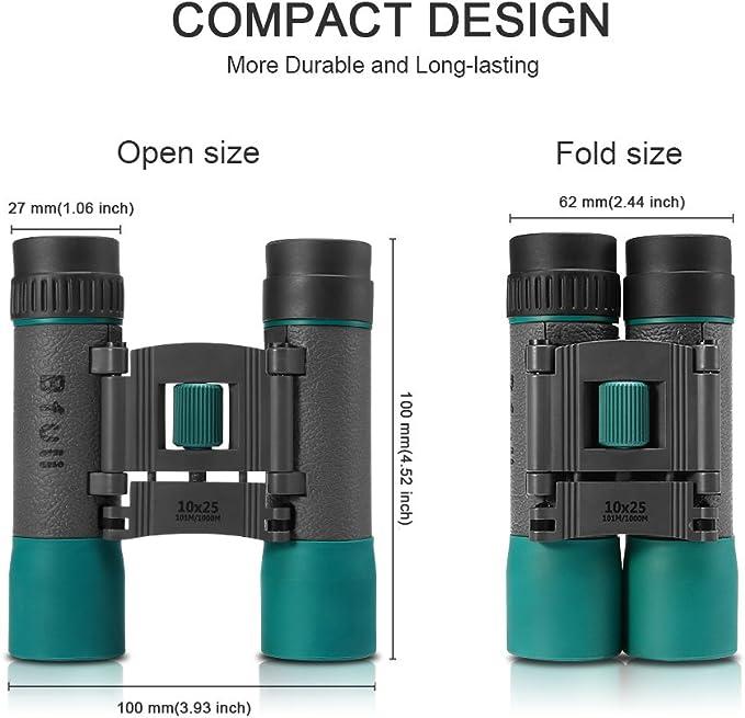 BFULL 10x25 Mini Prismaticos Compactos Binoculares Profesionales Port/átil para Viaje//Turismo//Caza//Observaci/ón de Aves//Concierto Prism/áticos peque/ños y potentes para Adultos y Ni/ños