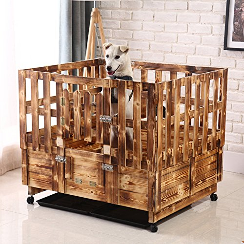 Solid wood dog house,Indoor dog cage pet nest cage pet playpen waterproof pet bed-A 66x47x60cm(26x19x24inch)