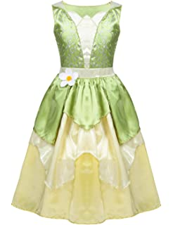 Princess and the Frog Tiana Cosplay Costume Luxury Ball Gown Dress for Women