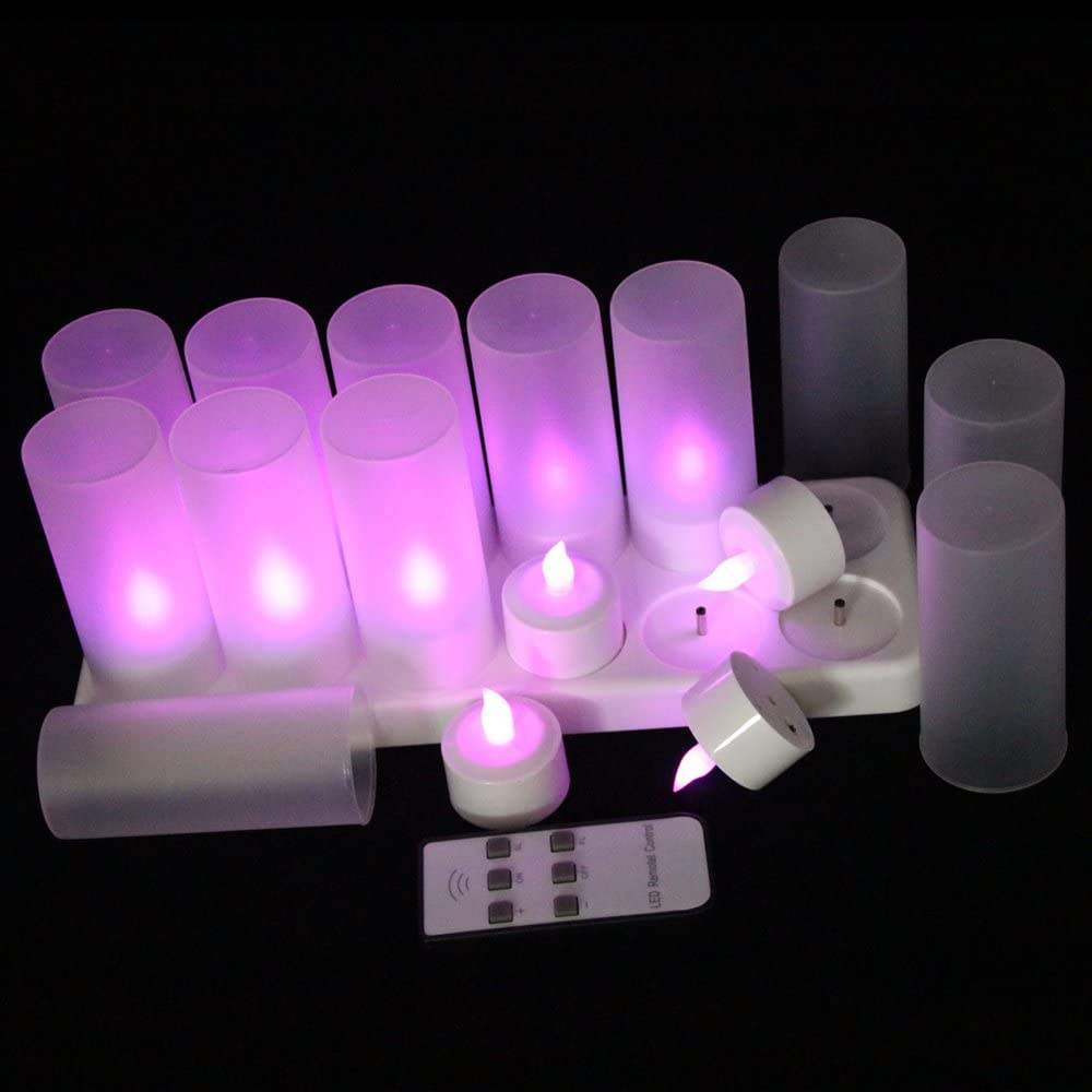 EuroFone Flameless LED Teelicht Kerze wiederaufladbare LED Kerzen mit Cup 12pcs (Warm white with remote) Purple With Remote