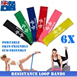 Resistance Loop Bands Exercise Bands Set of 6 Natural Latex Fitness Bands for Workout and Physical Therapy E-Guide Pilates Yoga Rehab Improve Mobility and Strength