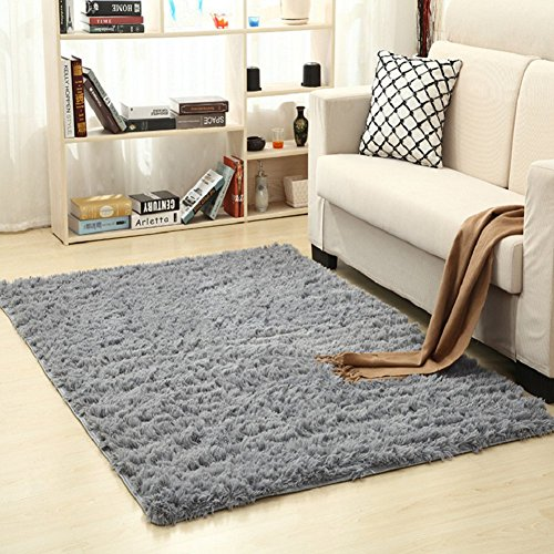 Bnxbb Ultra Soft 4Cm Thick Indoor Modern Shag Area Rugs Pads,Home Decor,Rectangle ,Size:24' x 47'(60Cm X 120Cm)(Grey)