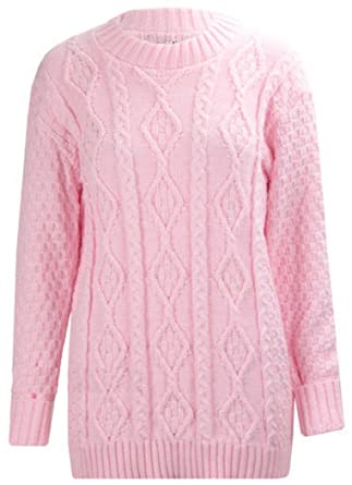 113232bde2bb5c Ladies Womens New Chunky Diamond Cable Knitted Long Sleeve Sweater Pull  Over Jumper Top  Amazon.co.uk  Clothing