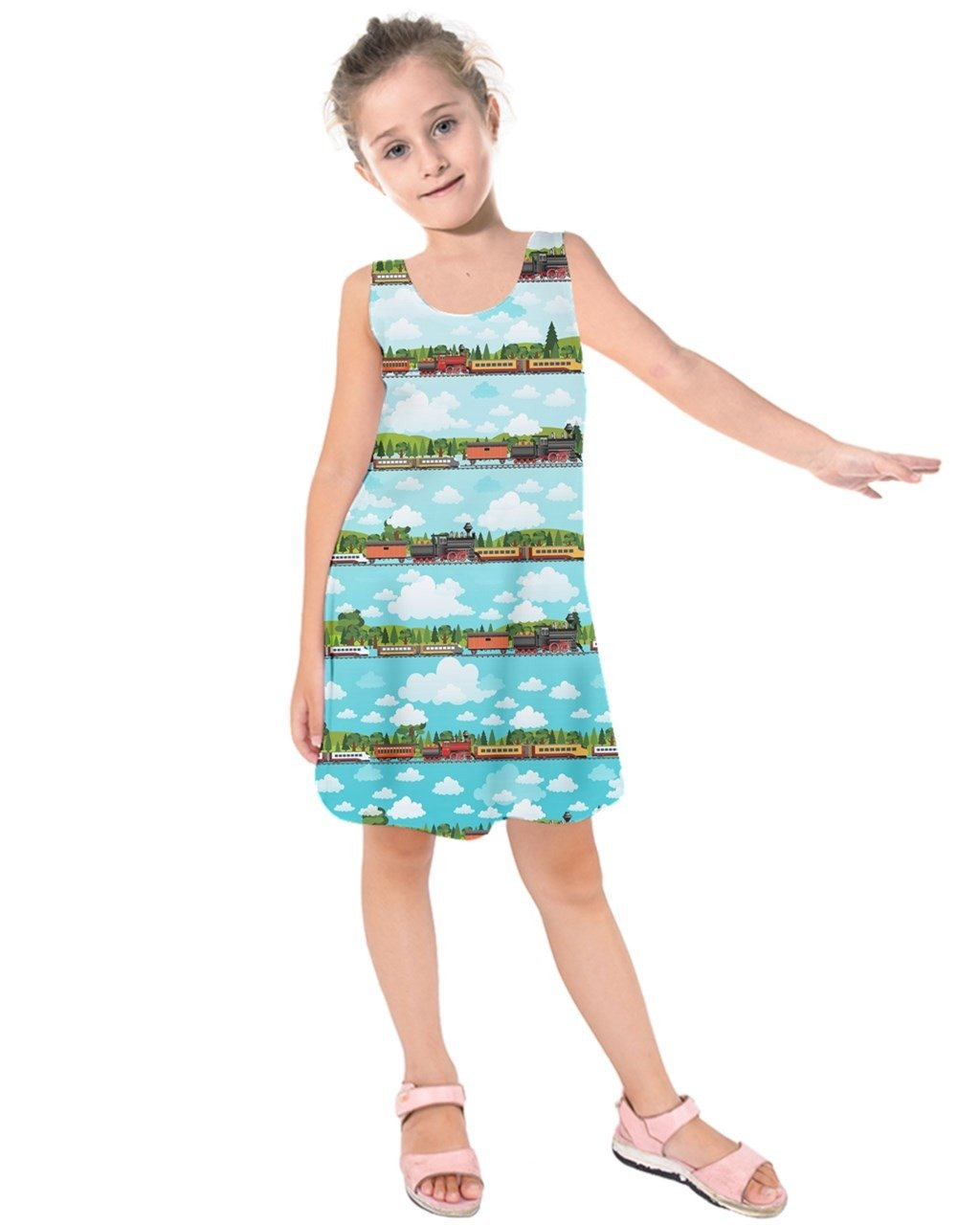 PattyCandy Girls 2-13 Years Travel by Train Kids Sleeveless Dress - 4