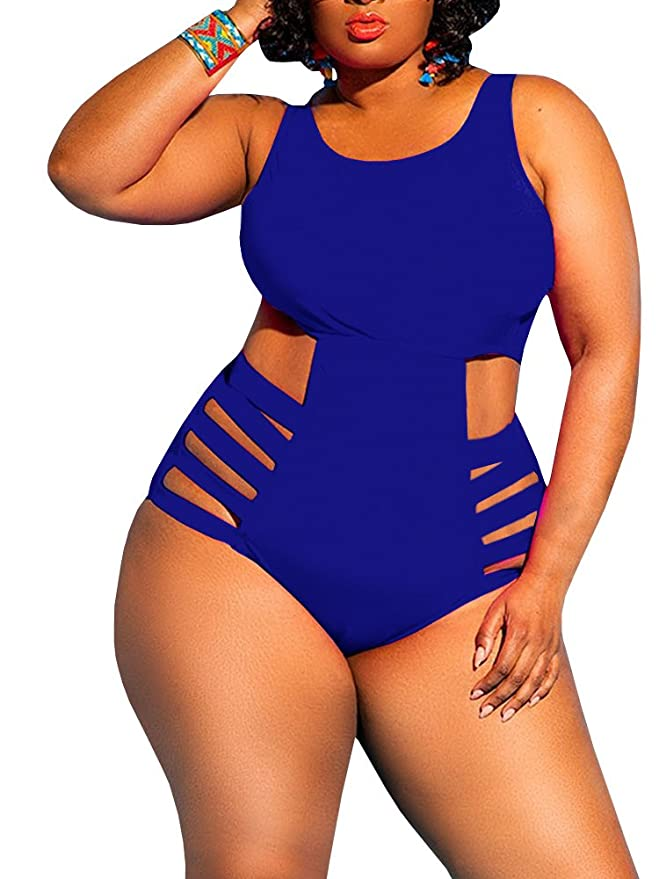 f269e472515 Misassy Womens Plus Size Swimwear High Waist One Piece Swimsuits Sexy  Control Cutout Bathing Suit Monokini at Amazon Women s Clothing store