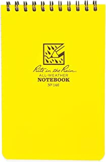 """product image for Rite In The Rain Weatherproof Top-Spiral Notebook, 4"""" x 6"""", Yellow Cover, Universal Pattern (No.146)"""