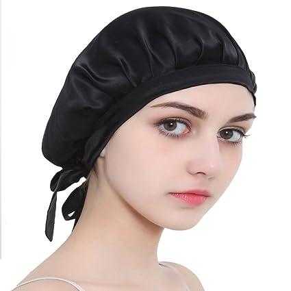 San Francisco d3574 574ce Bonnet de Nuit en Soie avec Elastique Chapeau de Nuit Coiffe de Cheveux  Adulte pour Femme - Noir