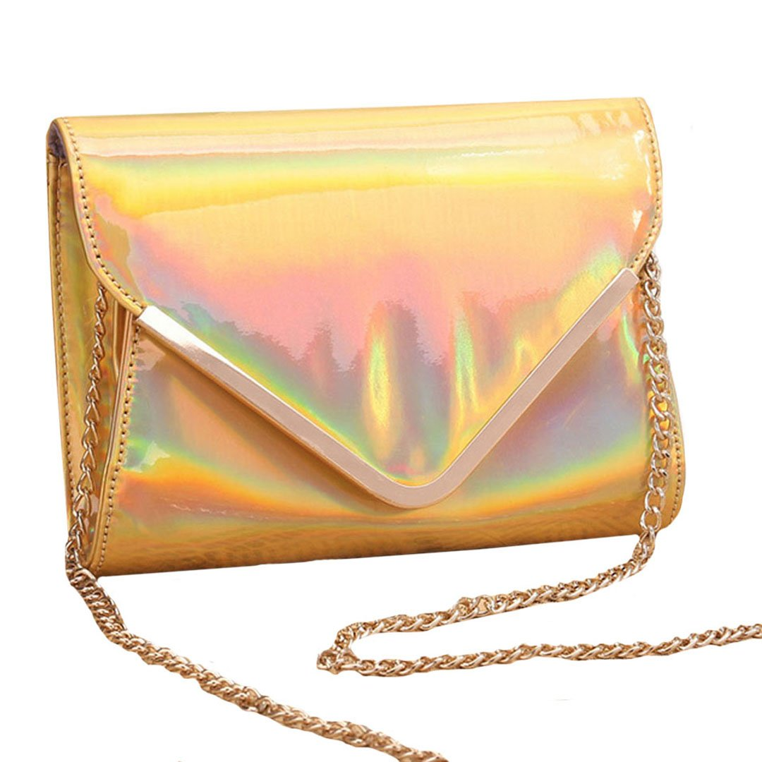 LABANCA Women's Summer Glitter Holographic Envelope Single Shoulder Bag With Chain Crossbody Bag Gold