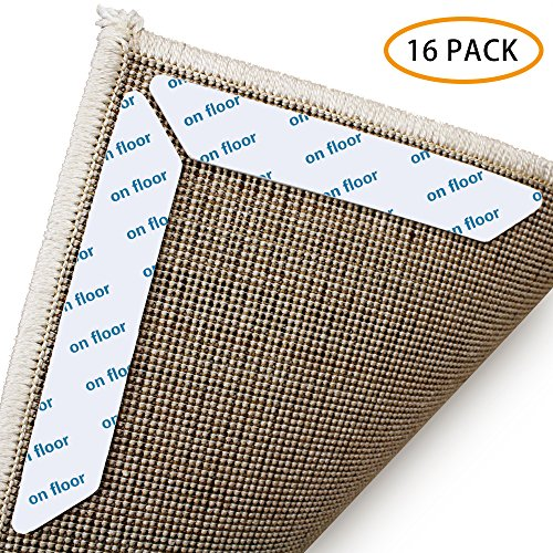 Rug Grippers for Carpet Rug Gripper Pads Ninonly Sticky Pad (16Pcs) Non-Slip Pads Carpet Tape Anti Curling Carpet Gripper Washable Removable Renewable For Hard Floors Kitchen Bathroom
