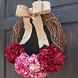 Rustic Hydrangea Grapevine Spring Summer Valentines Day Wreath for Front Door Decor; Burgundy Red and Rose Pink 4