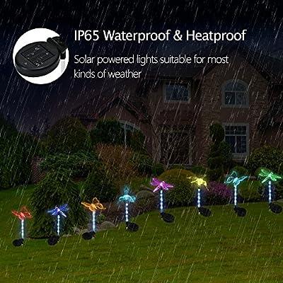 Sooreally Garden Solar Lights, Solar Stake Light Multi-color Changing LED Garden Lights, Fiber Optic Butterfly Decorative Lights with a Purple LED Landscape Light Stake-3 Pack