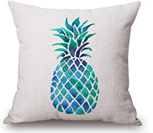 """LYN Cotton Linen Square Throw Pillow Case Decorative Cushion Cover Pillowcase for Sofa Deer Head 18""""X 18"""" Pineapple Pattern Pillow ¡ (5)"""