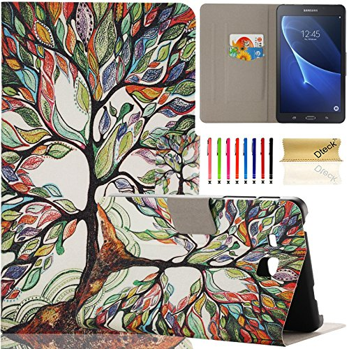 Galaxy Tab A 7.0 inch Case, Samsung SM-T280, Dteck Ultra Slim PU Leather Flip Stand Case with Cards Slots Protective Cover for Samsung Galaxy Tab A 7.0 T280 T285 (01 Lucky Tree)
