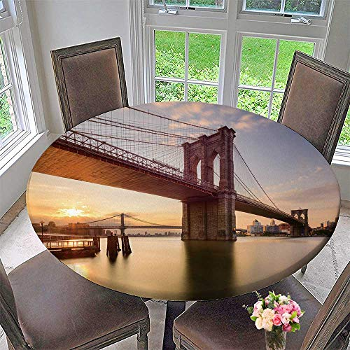PINAFORE HOME Round Table Tablecloth Brooklyn Bridge in New York City at Sunrise for Wedding Restaurant Party 59